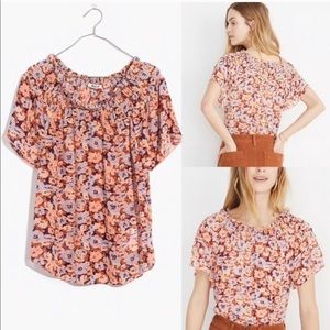 Madewell Sp '19 Floral Smock Neck Blouse M